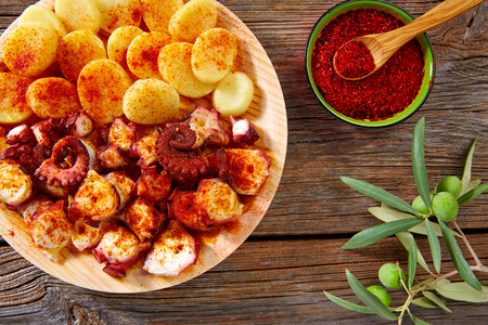 galicia: Tapas Pulpo a Feira with octopus potatoes gallega style and paprika recipe from Spain