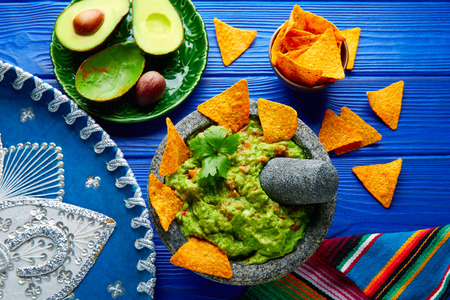 nachos: Guacamole with nachos avocado in Mexican molcajete and Sombrero hat