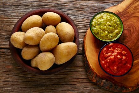 mojo: Papas arrugas al mojo Canary islands wrinkled potatoes with green and red sauces