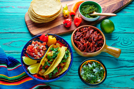 piquancy: Tacos al pastor Mexican with coriander pineapple and chili