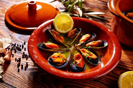Tapas mejillones al vapor steamed mussels from Spain Stock fotó