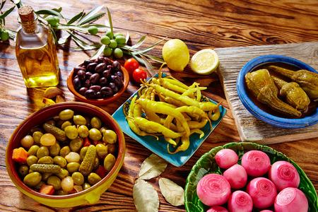 Tapas pickles mix olives chili onion eggplant from Spain Reklamní fotografie