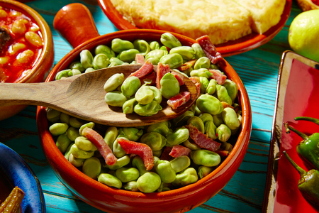 iberico: Tapas lima beans with iberico ham from Spain on wood