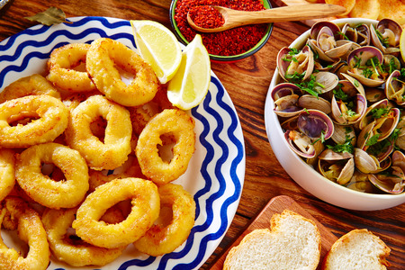 romana: Tapas calamari romana squid rings seafood from Spain Stock Photo