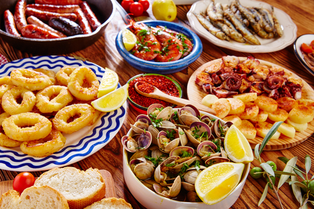 spanish tapas: Tapas from spain varied mix of most popular tapa mediterranean food