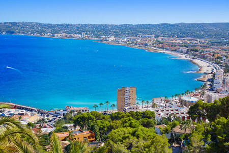 Javea Xabia village aerial view in Mediterranean sea of Alicante spain