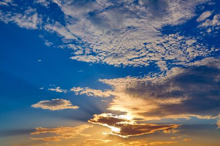 sunset sky: Sunset sky with golden and blue clouds in Mediterranean