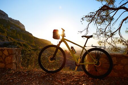 mongo: Mountain bike MTB sunset in Denia at Montgo track Alicante Spain