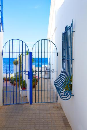 mediterranean houses: Denia Mediterranean blue houses in Las Rotas at Alicante Spain Stock Photo
