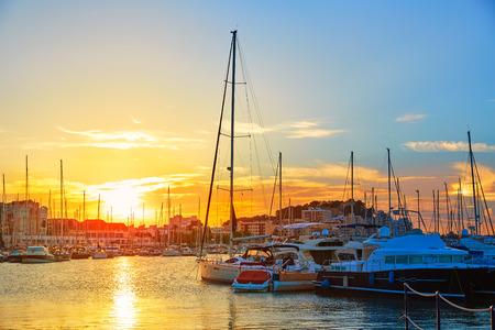 alicante: Denia sunset in Marina boats at Mediterranean Spain of Alicante Stock Photo