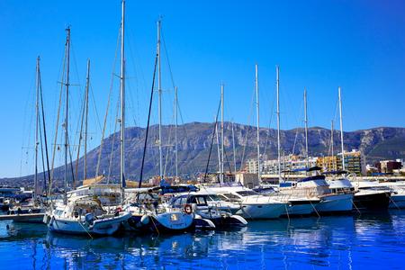 mongo: Denia marina Port and Montgo in Alicante at Spain Mediterranean sea