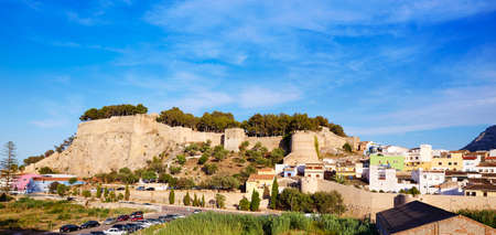 top mountain: Denia castle and village panoramic view in Alicante Spain