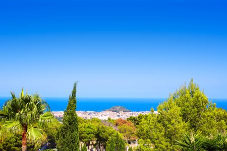 mongo: Denia village high view from Montgo with Mediterranean sea of Alicante Spain