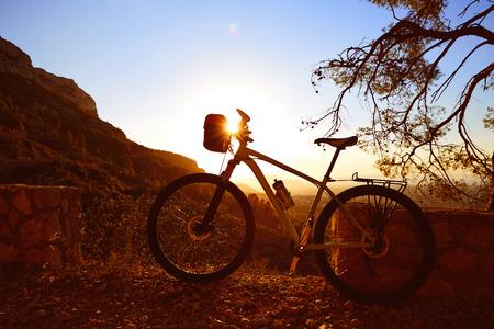 mongo: Mountain bike MTB sunset in Denia at Montgo track Alicante Spain