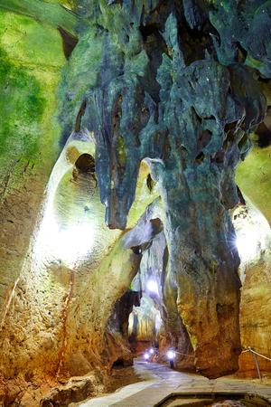 dweling: Benidoleig Cueva Calaveras cavern in Alicante at Spain Stock Photo