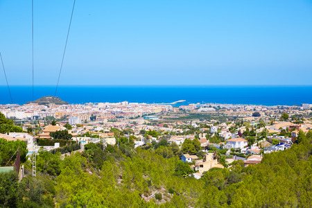 mongo: Denia village high view from Montgo with Mediterranean sea of Alicante Spain