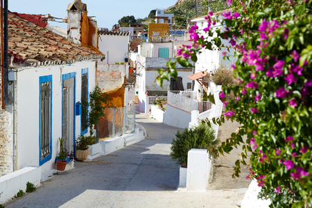 Cullera village streets in Mediterranean Valencia of Spain Standard-Bild