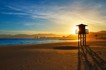 baywatch: Cullera Playa los Olivos beach sunset in Mediterranean Valencia at Spain