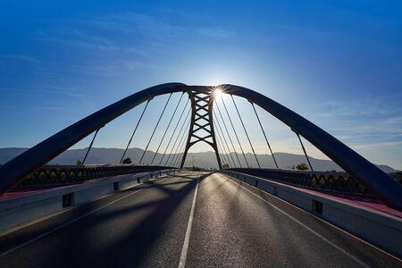 modern architecture: Cullera bridge over Xuquer Jucar river of Valencia at Spain