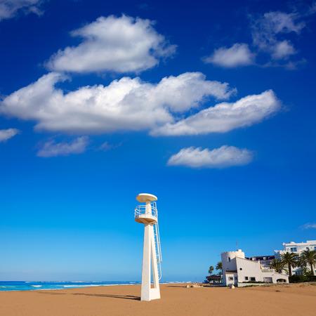 baywatch: Denia beach Las Marinas baywatch tower in El Moli Alicante of Spain Stock Photo