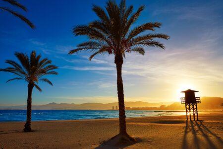 Cullera Playa los Olivos beach sunset in Mediterranean Valencia at Spain