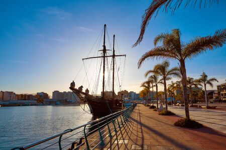 promenade: Gandia port promenade in Mediterranean Valencia of Spain