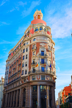 sorolla: Banco de Valencia historical building in Pintor Sorolla street at Spain