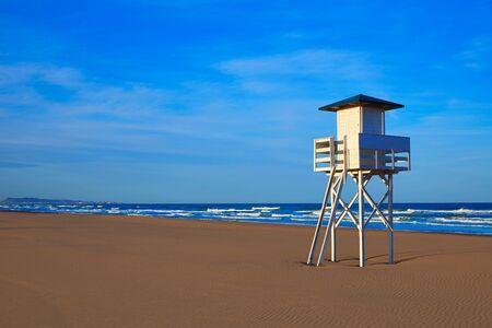 baywatch: Gandia beach in Valencia of Mediterranean Spain baywatch tower