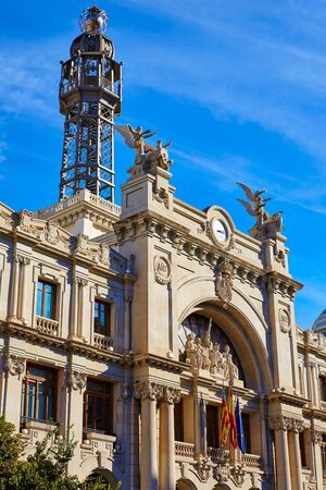 Valencia city Correos building in Ayuntamiento square of Spain