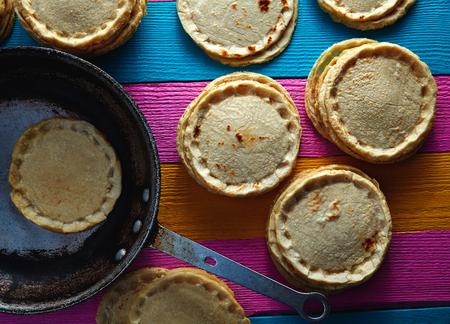 tortillas: Sopes handmade mexican traditional food thick corn masa tortillas Stock Photo