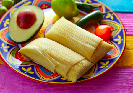 Mexicaanse Tamale tamales van maïs bladeren met chili en sauzen