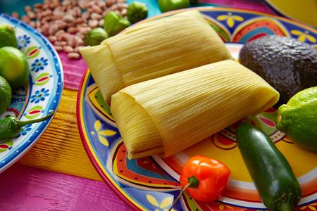 メキシコ タマレ tamales トウモロコシの葉唐辛子と醤油 写真素材