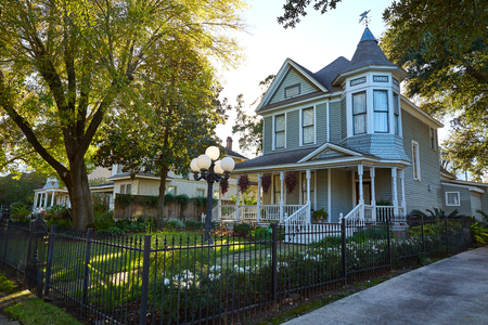 heights: Houston heights victorian style houses in Texas Editorial