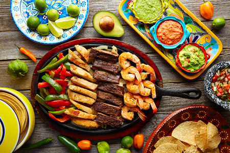 combo: Mexican combo beef and chicken fajitas with shrimp