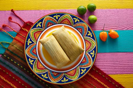 tortilla de maiz: tamales de Tamale mexicana de hojas de maíz con chile y salsas Foto de archivo