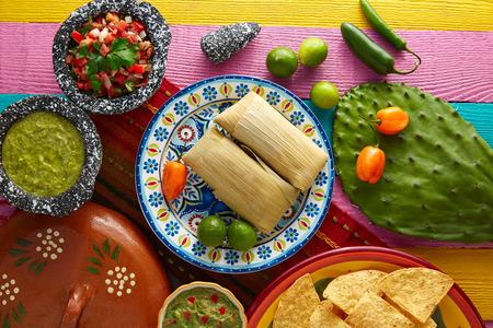tamales de Tamale mexicana de hojas de maíz con chile y salsas Foto de archivo