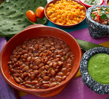 gallo: Frijoles mexican beans with rice and sauces nopal and pico de gallo