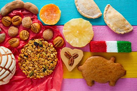 Mexican sweets and pastries cajeta tamarindo coconut flag Palanqueta puerquito Stock Photo