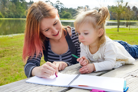 boroughs: Mother and daughter drawing colors in a park lake