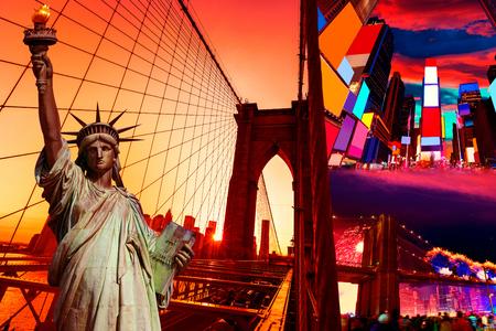 time square: Liberty Statue and New York American Symbols USA photomount