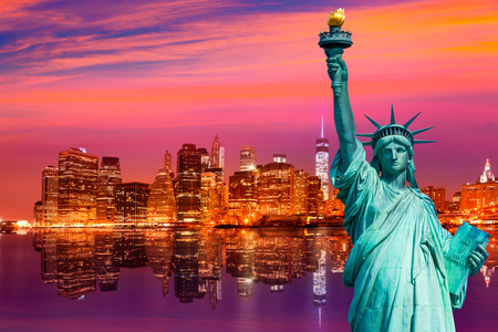 Liberty Statue and New York skyline American Symbols USA photomount Фото со стока - 57522260
