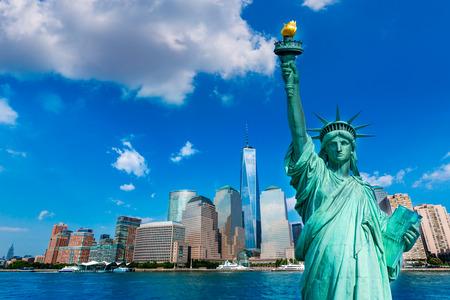 Libertad estatua y horizonte de Nueva York Símbolos del americano de EE.UU. photomount