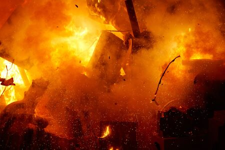 fest: Fallas popular fest burning cartoon paper mache figures on March 19 th yearly Stock Photo