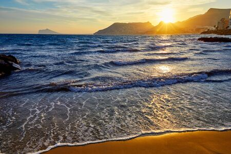cantal: Calpe sunset in Mediterranean in cantal roig beach of spain Stock Photo