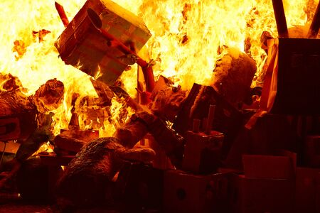 paper mache: Fallas popular fest burning cartoon paper mache figures on March 19 th yearly Stock Photo