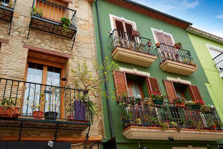 facade: Denia street Loreto facades in Alicante at Mediterranean spain