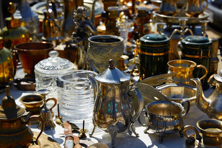 tarnished: Antiques traditional market outdoor in Spain
