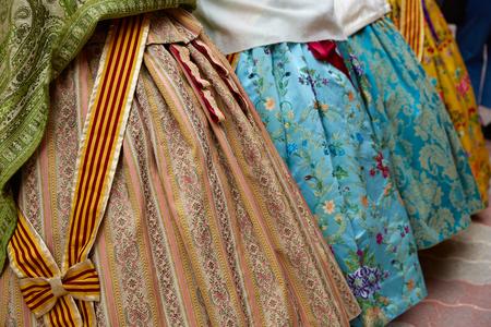 fest: falleras dress detail from Fallas popular Valencia fest in Spain