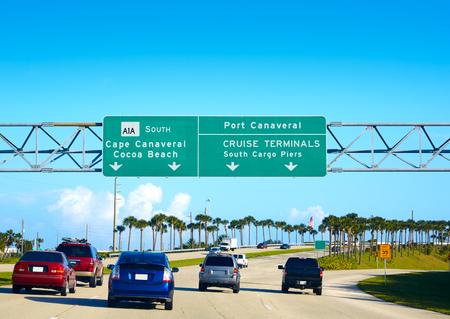 cape canaveral: Cape Canaveral and Cocoa beach road sign in florida near Orlando USA