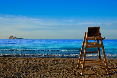 costa blanca: Benidorm Poniente beach watchtower seat in Alicante Mediterranean of Spain Stock Photo
